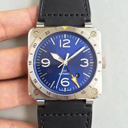 Wholesale Square Luminous Watch - Best Edition 42mm Aviation BR 03-93 GMT BR03 BR03-93-GMT-ST SCA Automatic Luminous Men Watch Sapphire crystal wristwatch