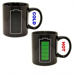 Wholesale Temperature Color Changing Mugs - Battery Color-Changing Mugs Magic Cup Ceramic Temperature Induction Mugs Change Colour Coffee Cups Creative Ceramic Mugs CCA7692 30pcs