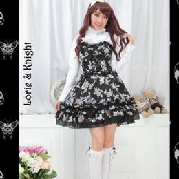 Wholesale Lolita Tube - Wholesale-Girls Two Pieces Black and White Long Sleeves Blouse & High Waist Tube Dress Sweet Lolita Set