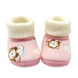 Wholesale Baby Monkey Shoes - Wholesale- Fashion 0-1T Newborn Baby Kids shoes fit to First Walkers with Monkey Pattern winter Soft Soled Anti-skid Toddler Footwear Shoes