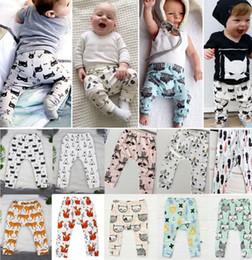 Wholesale Spring Harem Trousers - Baby INS PP Pants 39 design baby toddlers animal fox tent wheels geometric figure pants trousers Leggings Lemon Haroun Pants KKA863