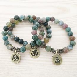 SN1110 Nuovo Design Bracciale da uomo India Agata Ohm Lotus Buddha braccialetto di fascino Mala Yoga gioielli regalo all'ingrosso per lui cheap ohm charms da ohm fornitori