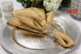 Wholesale Cheap Table Napkins For Parties - Cheap Price Gold Color Satin Table Napkin For Weddinng Party Decoration