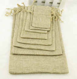 Wholesale Wholesale Jewel Storage Boxes - Natural Color Jute Burlap Drawstring bags Gift Coffee beans Storage Bags For Wedding Decor Cosmetic Jewel Sundries Packaging 50 pcs lot
