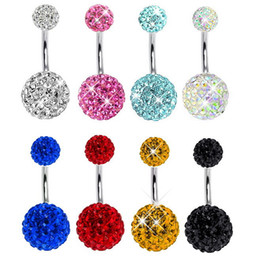 Wholesale Silver Disco Ball Ring - 11pcs lots Belly button ring fashion Shambhala Disco ball woman body piercing navel ring body jewelry Wholesale 14G Surgical Steel Clear AB
