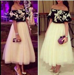 Wholesale Lace Top Peplum Dress - Two Pieces Prom Dresses 2016 Vestido de Festa Off the Shoulder White Appliques Black Top Tea Length Saudi Arabic Party Evening Gowns