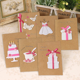Wholesale Blessing Mix - Wholesale- 6pcs lot Mixed Design Creative Kraft Paper Relief Applique Birthday Day Blessing Card Lovely Girls Loves Greeting Cards WZ