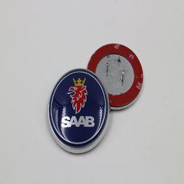 Wholesale Bonnet Badge - Blue Alloy 68mm For SAAB 9-3 9-5 93 Front Hood Bonnet Badge Car Accessories For SAAB 3Pins Emblem