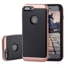 Wholesale Iphone Flexible Case - For iPhone X 8 7 6 6S Plus Carbon Fiber Flexible TPU Case Electroplating PC Frame Hybrid Armor Cases Cover For Samsung S7 edge S8 Plus J5 J7