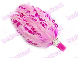 Wholesale Curly Feather Pads Wholesale - Free shipping 30pcs Nagorie Pads headbands Curly Feather Pads baby headbands Goose Feathers headbands Curly Feather Hairband Bling Pearl Acc