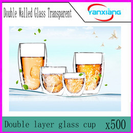 Wholesale Promotion Milk Tea - 500pcs 2016 Best Promotion Durable Transparent Double Layer Heat-resisting Glass Mug Coffee Milk Tea Cup Gift YX-BZ