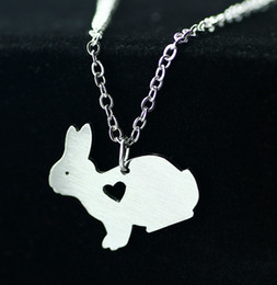 Wholesale Funny Bunnies - 2016 Original Funny cute bunny necklace simple lovely animal pendant necklace fashion jewelry stainless steel Animal necklace