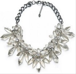 Wholesale Crystal Spike Collar - Resin crystal necklace cluster flower necklace spike bib chunky necklace&pendants women statement bib choker statement collar