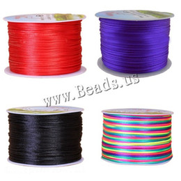 Wholesale Wholesale Chinese Knotting Cord - Wholesale-Wholesale 70M Spool 1MM Mix Color Nylon Black Satin Chinese Knotting Silky Macrame Cord Beading Braided String Thread