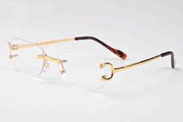 Wholesale Popular Eyewear Quality - 2018 top quality brand designer sunglasses rimless clear glasses popular men eyewear gold silver metal frame buffalo horn glasses with box