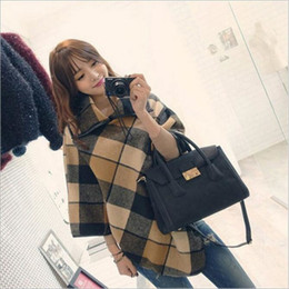 2019 frauen s winter schal mantel Herbst und Winter Frauen Turtlenck Pullover Plaid Schal Wollmantel Oversized Poncho Cape Mantel Jacke Pullover günstig frauen s winter schal mantel