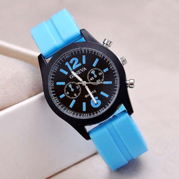 Wholesale Assorted Women Watches - Men Military Army Watch New Geneva Silicone Watch Women Dress Watch Sports Watch Assorted 14 Colors Scrub Watches 55pcs lot 0602fineworks