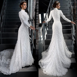 Wholesale High Neck Modest Wedding Dresses - 2018 High Neck Gorgeous Modest White Lace Applique Beading Muslim Hijab Mermaid Wedding Dresses Long Sleeves Bridal Gown