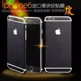 Wholesale Full Body Decals - Hot Luxury black leather Full Body Decal Front+Black Film Sticker breathable Case Cover for iphone 6 6S Plus 6SPlus 4.7 5.5inch