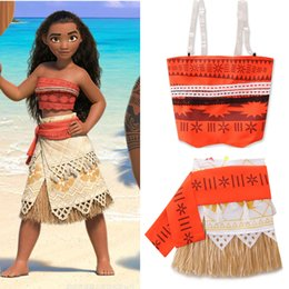 Wholesale Womens Tank Dresses - Mother And Dauther Sets Womens Girls Floral Printed Tank Top+Tassel Skirt 2pc Sets Girl Moana Summer Dress Family Cosplay Clothes T0033