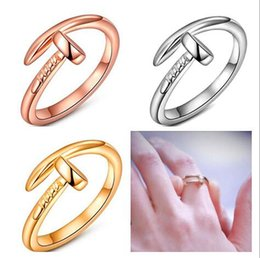 Wholesale Charm Ring Screw - Golden silvery Rose Gold plating S925 Sterling Silver Screw nail ring charms Man woman fashion jewelry 10pcs lot
