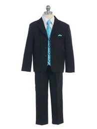 Wholesale Handsome Boys Photos - 2016 Kid Boy Tuxedos Suits Clothing Handsome Wedding Party Boys' Formal Occasion Suit Formal Attire (Jacket+Pants+Vest+Tie)
