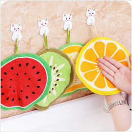 Wholesale Napkin Printed - Lovely Fruit Print Hanging Kitchen Hand Towel Microfiber Towels Quick-Dry Cleaning Rag Dish Cloth Wiping Napkin YYA894