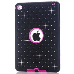 Wholesale Ipad Armor Case - 3 in 1 Diamond Bling Starfall Armor Hybrid Hard PC Silicone Gel Case Shockproof Defender For Ipad Mini 1 2 3 4 MINI4 7.9 Tablet Skin Fashion