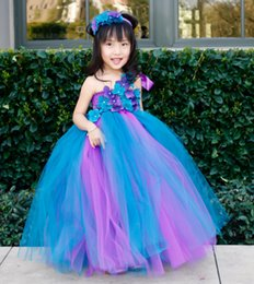 Wholesale Girls Peacock Ball Gown - Purple and Peacock Blue V-neck Handmade Girl Flower Princess Tutu Cotton Polyester Dress For Wedding Birthday Party Ball All Children size
