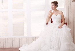 Wholesale Product Detail - 2016 Wedding Dresses with Sash Sweetheart Neckline Pleats Ruffles Strapless Floor Length Court Train Bridal Gowns Our Real Product