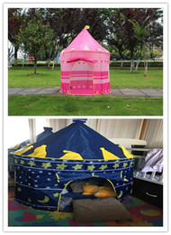 Wholesale Kids Foldable Play Tent - 2 Colors Portable Foldable Play Tent Prince Folding Tent Kids Children Boy Castle Cubby Play House Kids Gifts Outdoor Toy Tents