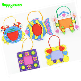 Wholesale Baby Stickers Craft - Happyxuan 5pcs lot Kids DIY Craft Kits 3D EVA Foam Sticker Photo Frame Kindergarten Baby Creative Handmade Educational Toys