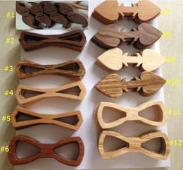 Wholesale finished wood products - 2016 New Wood Bow Ties Semi-finished products 12 styles Handmade Vintage Bowknot For Gentleman Wedding Wooden Bowtie Father's day