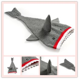 Wholesale Knit Cocoons - Wholesale-Childrens Shark Tail Blankets Mermaid Tail kids Sleeping Bags Wraps Cocoon kids blankets Warmer Knit Blankets A0380
