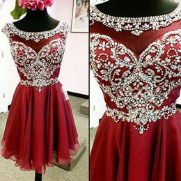 Vestidos Del Regreso Al Hogar Corto Rojo Oscuro 2017 Gasa De Tulle Con Cuentas Por Encargo Corto Prom Vestidos Vestidos De Fiesta Vestidos De Noche De