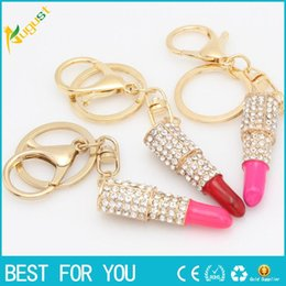Wholesale Rhinestone Lipstick - Lipstick Rhinestone Crystal Key ring Charm Pink Pendant Car Gold Key Chain For Woman Gift new hot