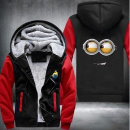 Wholesale Despicable Purple - New Despicable Me Hoodies Anime Justice Hooded Winter cotton Coats Jackets Men's Cardigan Sweatshirt Costume drive warm Sportswear,USA size