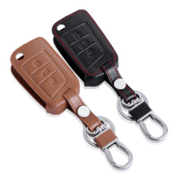 Wholesale Vw Remote Key Cover - High Quality leather car key cover for Volkswagen VW GOLF 7 MK7 skoda Octavia A7 combi RS A 7 remote