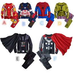 Wholesale Pajamas Teenage - Awesome Spider Man Pajamas Iron Man Child Cartoon home clothes PJ Marvel Avengers Long Sleeve Pajama Set With Cape K111E