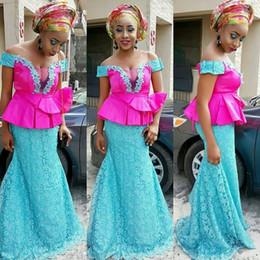 Wholesale Lace Peplum Floor Length Dress - Two Color Aso Ebi Evening Dresses Off Shoulder Nigeria Lace Applique Prom Gowns Back Zipper Peplum Floor-Length Custom Made Formal Dress