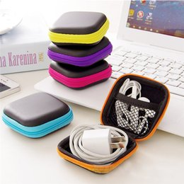 Wholesale Cable Storage Boxes - Hot Mini Zipper Hard Headphone Case PU Leather Earphone Storage Bag Protective USB Cable Organizer, Portable Earbuds Pouch box