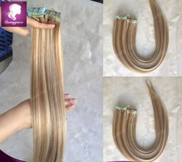 """Wholesale Thick Tape Hair Extensions - Cheap Brazilian Human tape Hair Extensions 16"""" 18"""" 20"""" 22""""24"""" 40pcs highlight tape remy human brazilian thick skin weft hair extensions"""