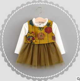Wholesale Long Sleeve Baby Girl Vests - Baby little girls sets fashion baby ruffle collar tulle tutu dress+floral embroidery bows vest tops 2pc sets kids autumn clothes T0015