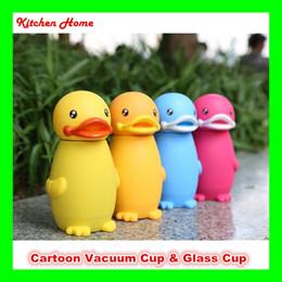 Wholesale Kinds Designs - Creative Duck Design Kids Water Bottle Kettle Cute Cartoon Vacuum & Glass Cups for Children Babies 2 Kinds Bottles for selection