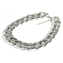 Wholesale Ccb Chain - Fashion CCB material Coarse Twisted Link Chain Chunky Gold Ladies' Statement Choker Necklace Punk Jewelry Chokers free shipping