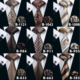 Wholesale Cheap Ties For Men - Brown Mens Neck Tie Set High Quality Cheap Fashion Accessories Classical Adult Necktie Ties For Mens Neckties Free Shipping