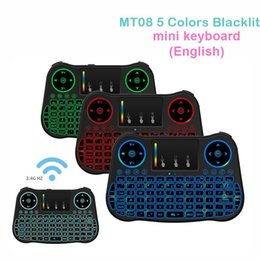 Wholesale Tablets Ghz - Mini Wireless Keyboard Backlit MT08 2.4 GHz Touchpad Keyboard USB Air Mouse Remote Control For Android TV Box Tablet Pc PK i8