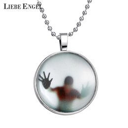 Wholesale Glowing Nightlight - Wholesale-Newest Shadow Men Style Necklace Glass Cabochon Chain Statement Pendant Necklace Glow In The Dark Nightlight Collares