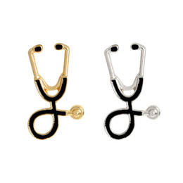 Wholesale Metal Clothes Pins - Oil Dripping Brooch Retro Stethoscope Alloy Drip Oils Enamel Pin European And American Fashion Clothing Decor 2 16wz F R