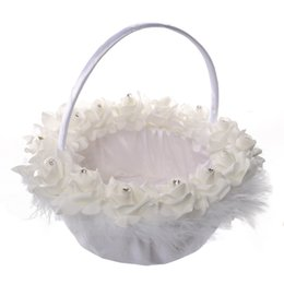 Wholesale Decoration Flower Basket - 2017 Wedding Ceremony Party Love Case Satin Bowknot Rose Flower Basket for Women Girl Home Decoration Storage Bag Container